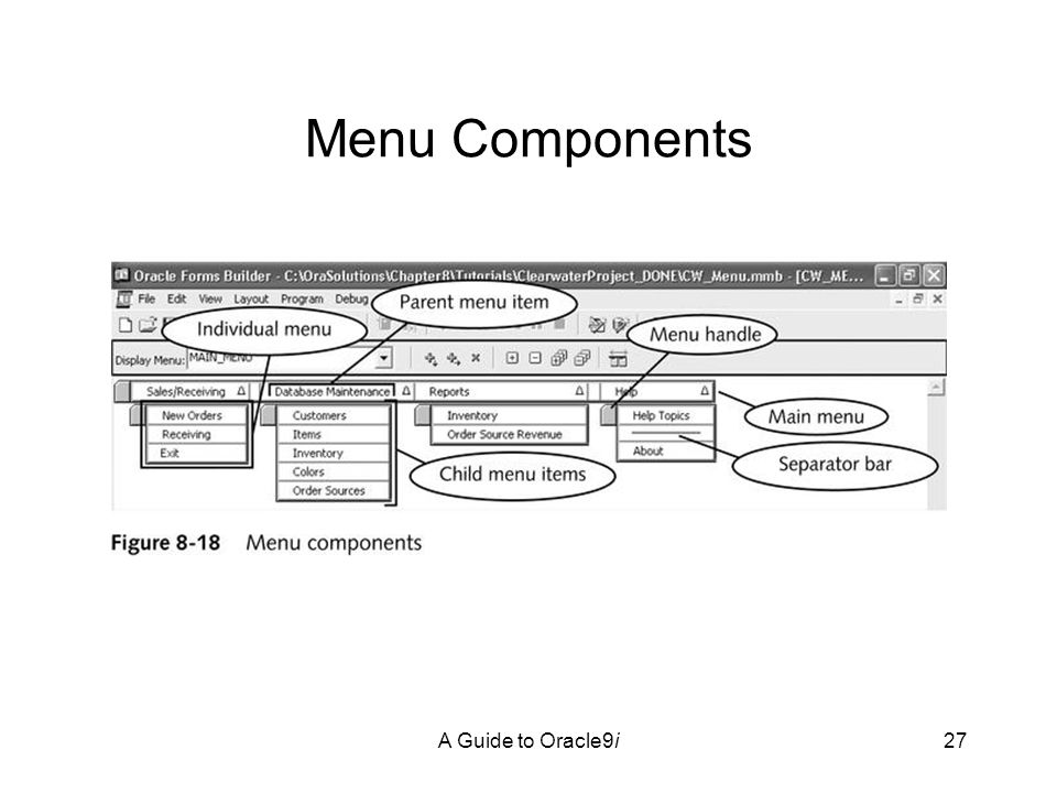 A Guide to Oracle9i27 Menu Components