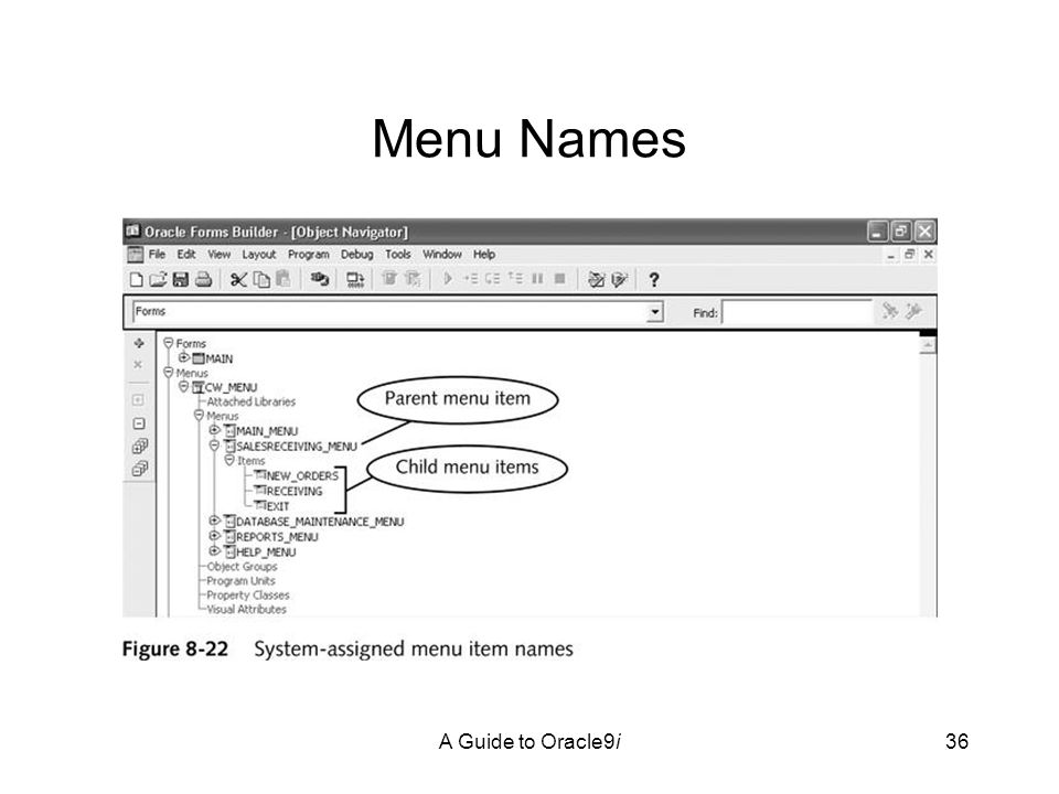 A Guide to Oracle9i36 Menu Names