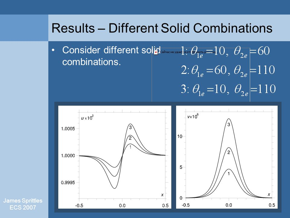 James Sprittles ECS 2007 Results – Different Solid Combinations Consider different solid combinations.