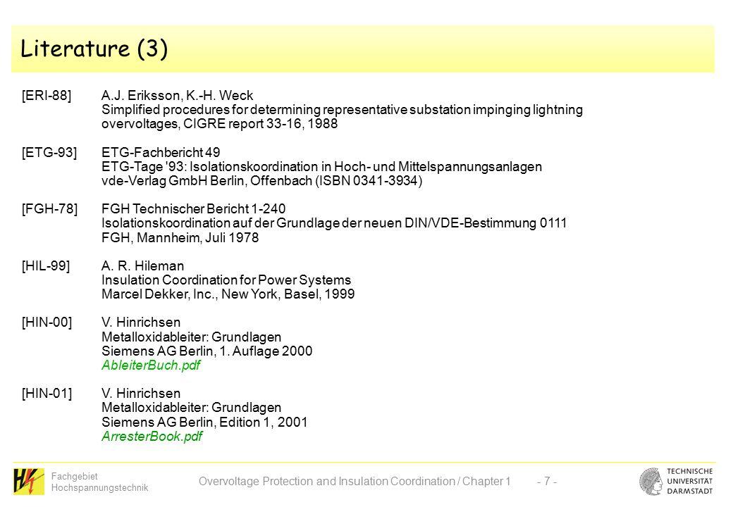 Fachgebiet Hochspannungstechnik Overvoltage Protection and ...