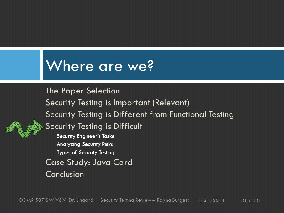 The Paper Selection Security Testing is Important (Relevant) Security Testing is Different from Functional Testing Security Testing is Difficult Security Engineer's Tasks Analyzing Security Risks Types of Security Testing Case Study: Java Card Conclusion Where are we.