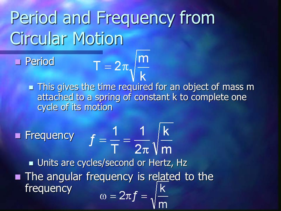 Period and Frequency from Circular Motion Period Period This gives the time required for an object of mass m attached to a spring of constant k to complete one cycle of its motion This gives the time required for an object of mass m attached to a spring of constant k to complete one cycle of its motion Frequency Frequency Units are cycles/second or Hertz, Hz Units are cycles/second or Hertz, Hz The angular frequency is related to the frequency The angular frequency is related to the frequency