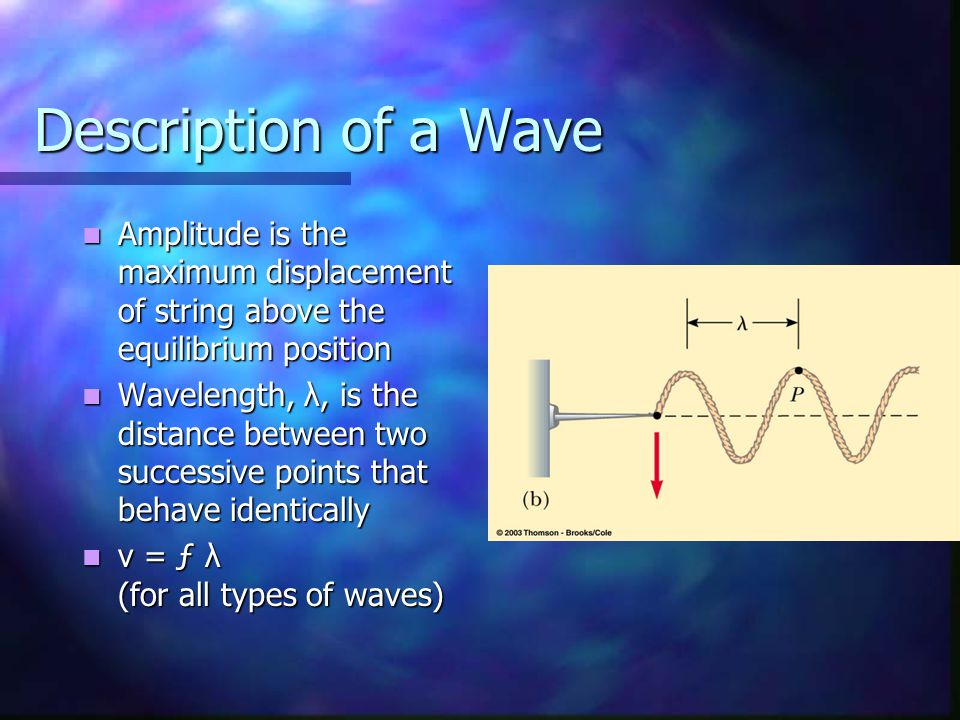 Description of a Wave Amplitude is the maximum displacement of string above the equilibrium position Amplitude is the maximum displacement of string above the equilibrium position Wavelength, λ, is the distance between two successive points that behave identically Wavelength, λ, is the distance between two successive points that behave identically v = ƒ λ (for all types of waves) v = ƒ λ (for all types of waves)