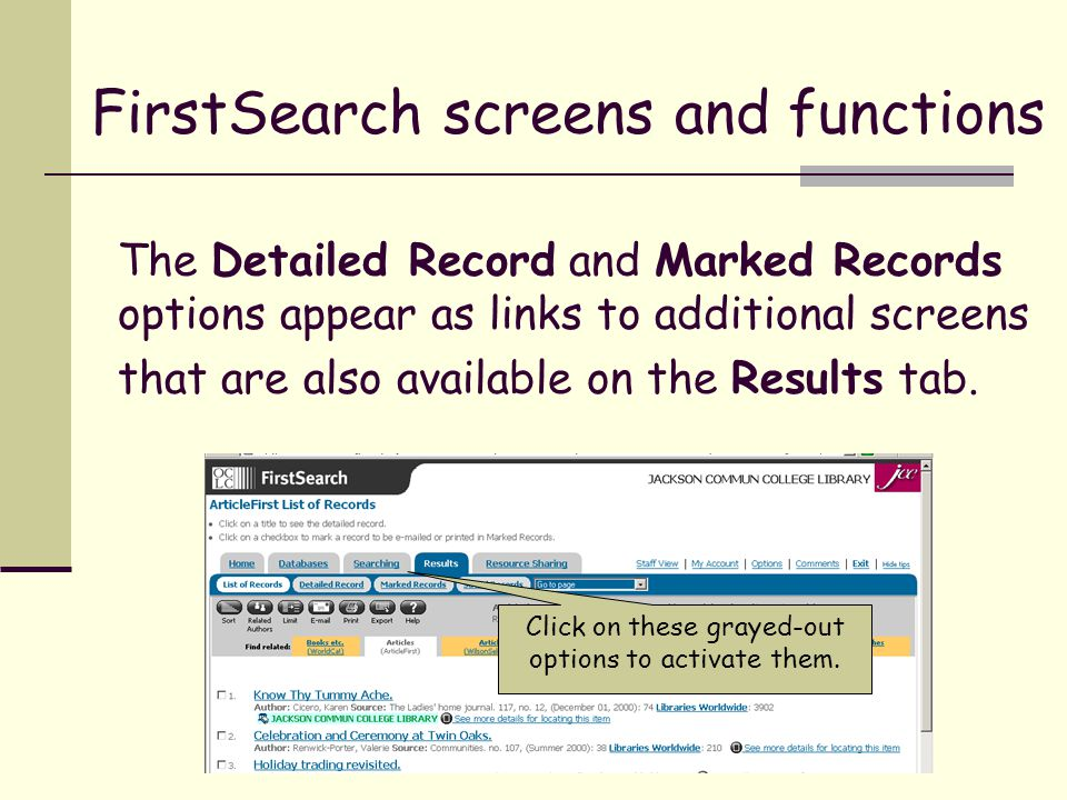 The Detailed Record and Marked Records options appear as links to additional screens that are also available on the Results tab.