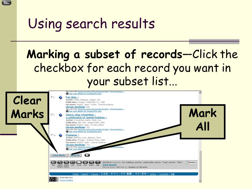 Marking a subset of records—Click the checkbox for each record you want in your subset list...