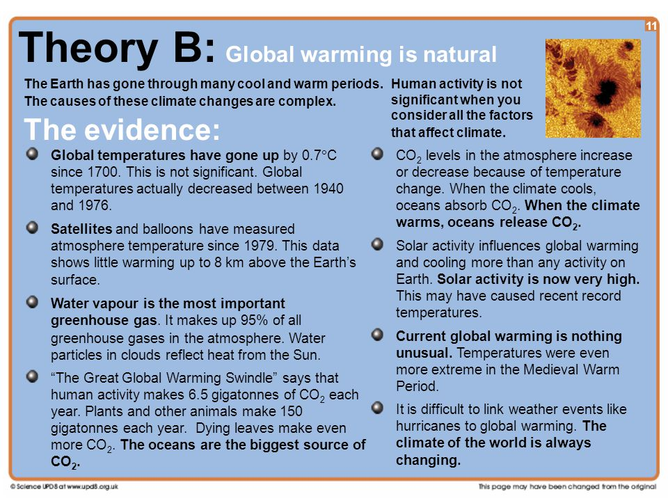 11 Theory B: Global warming is natural The Earth has gone through many cool and warm periods.
