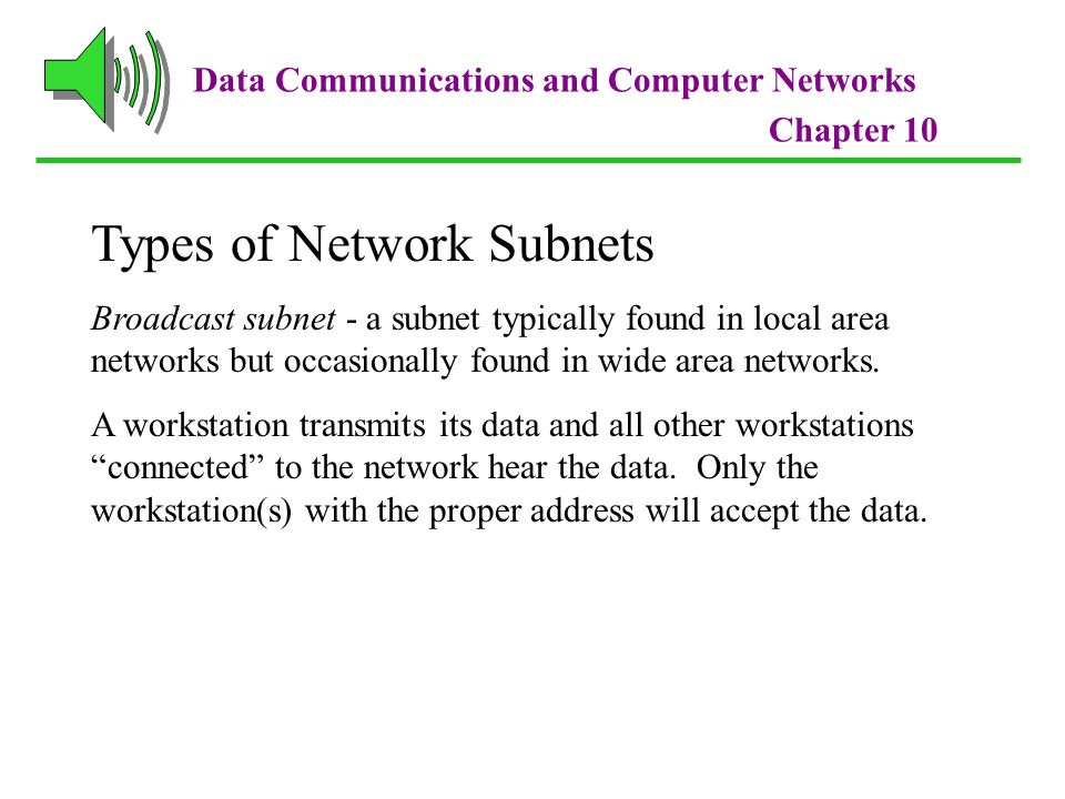 Data Communications and Computer Networks Chapter 10 Types of Network Subnets Broadcast subnet - a subnet typically found in local area networks but occasionally found in wide area networks.