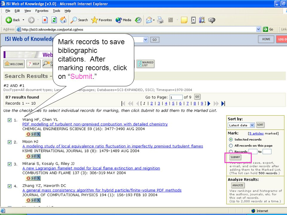 Mark records to save bibliographic citations. After marking records, click on Submit.