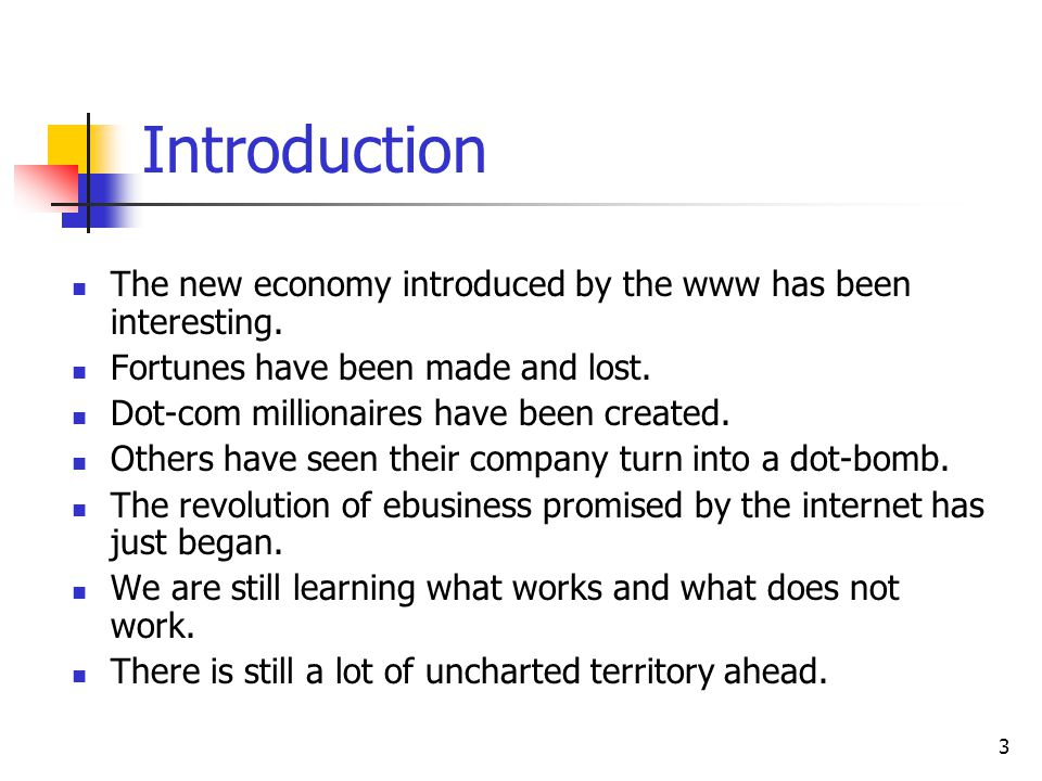3 Introduction The new economy introduced by the www has been interesting.