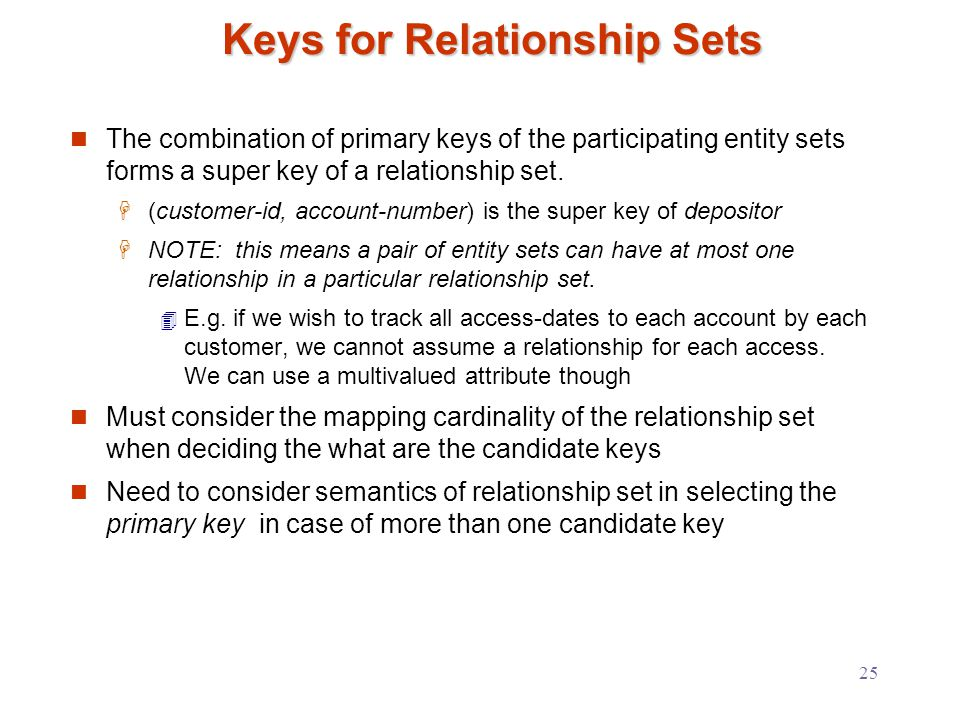 25 Keys for Relationship Sets The combination of primary keys of the participating entity sets forms a super key of a relationship set.
