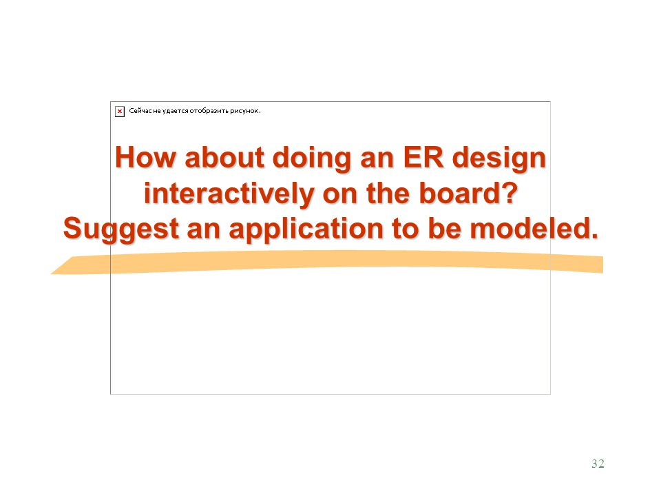 32 How about doing an ER design interactively on the board Suggest an application to be modeled.