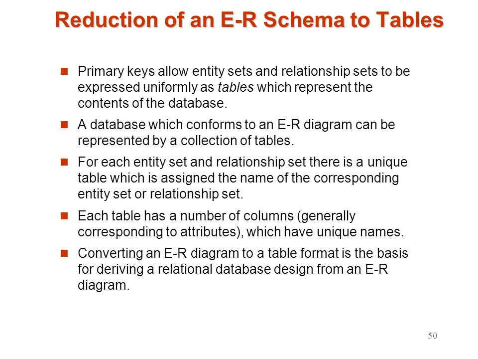 50 Reduction of an E-R Schema to Tables Primary keys allow entity sets and relationship sets to be expressed uniformly as tables which represent the contents of the database.