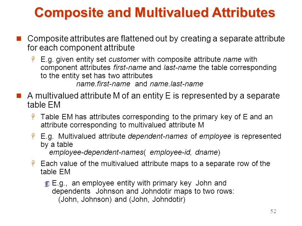 52 Composite and Multivalued Attributes Composite attributes are flattened out by creating a separate attribute for each component attribute  E.g.