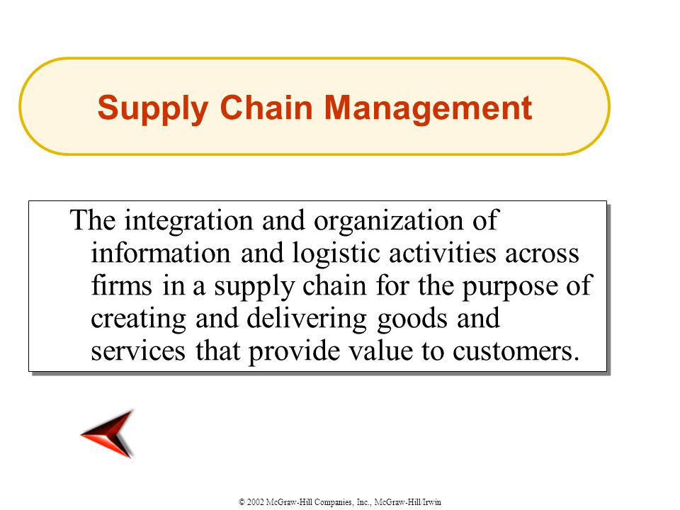 © 2002 McGraw-Hill Companies, Inc., McGraw-Hill/Irwin The integration and organization of information and logistic activities across firms in a supply chain for the purpose of creating and delivering goods and services that provide value to customers.