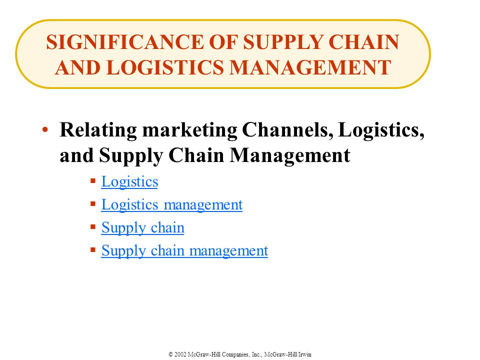 © 2002 McGraw-Hill Companies, Inc., McGraw-Hill/Irwin Relating marketing Channels, Logistics, and Supply Chain Management  Logistics Logistics  Logistics management Logistics management  Supply chain Supply chain  Supply chain management Supply chain management SIGNIFICANCE OF SUPPLY CHAIN AND LOGISTICS MANAGEMENT