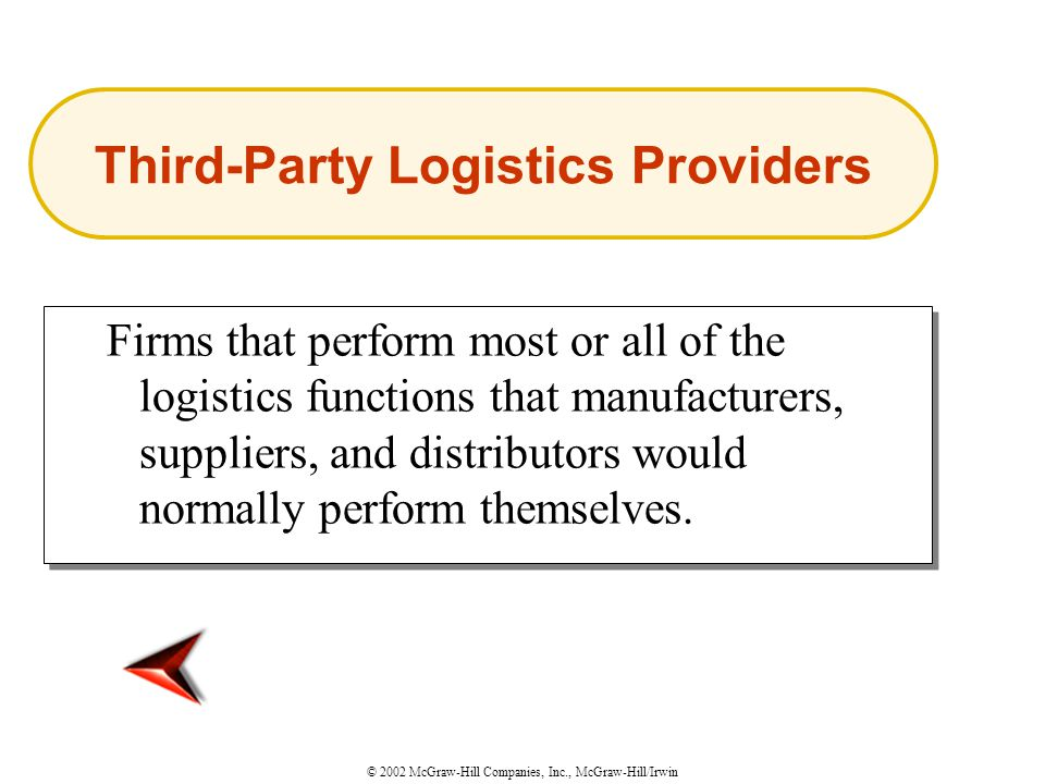 © 2002 McGraw-Hill Companies, Inc., McGraw-Hill/Irwin Firms that perform most or all of the logistics functions that manufacturers, suppliers, and distributors would normally perform themselves.