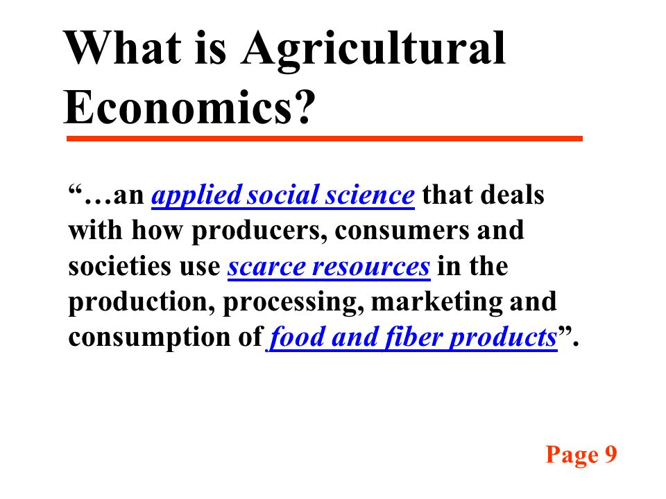 What is Agricultural Economics.