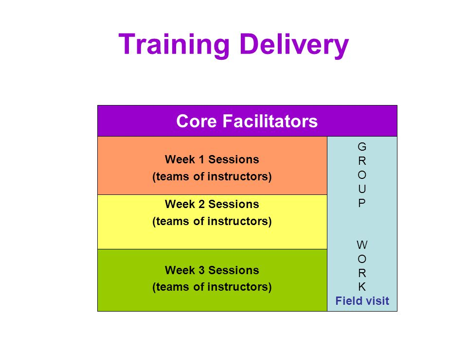 Training Delivery Week 3 Sessions (teams of instructors) Week 2 Sessions (teams of instructors) Week 1 Sessions (teams of instructors) G R O U P W O R K Field visit Core Facilitators