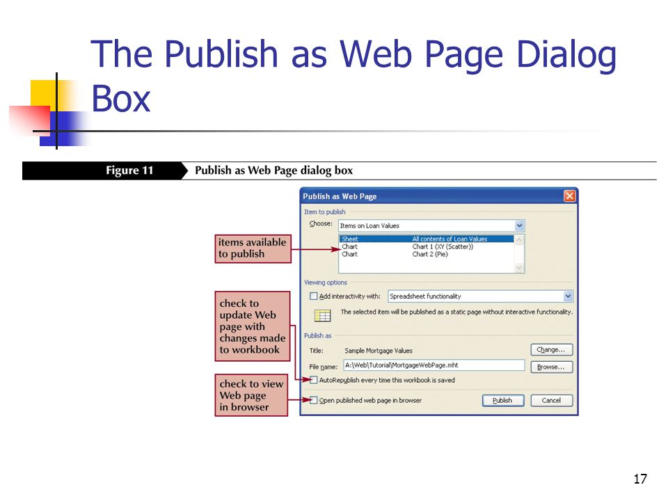 17 The Publish as Web Page Dialog Box