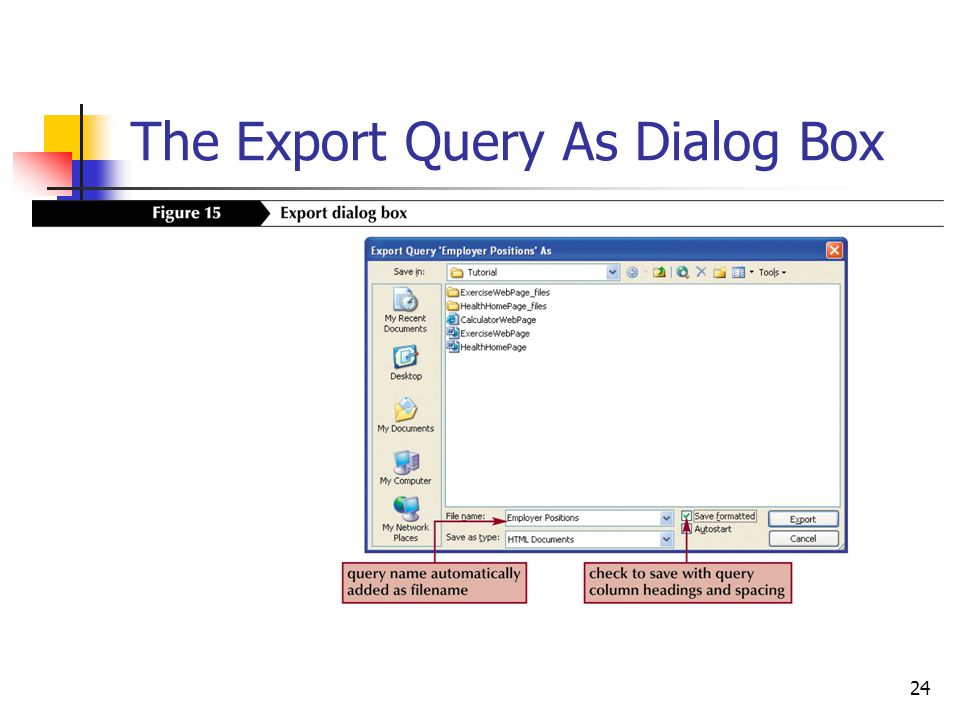 24 The Export Query As Dialog Box