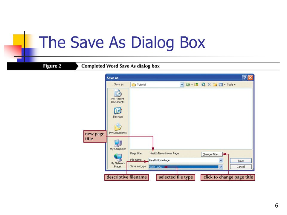6 The Save As Dialog Box