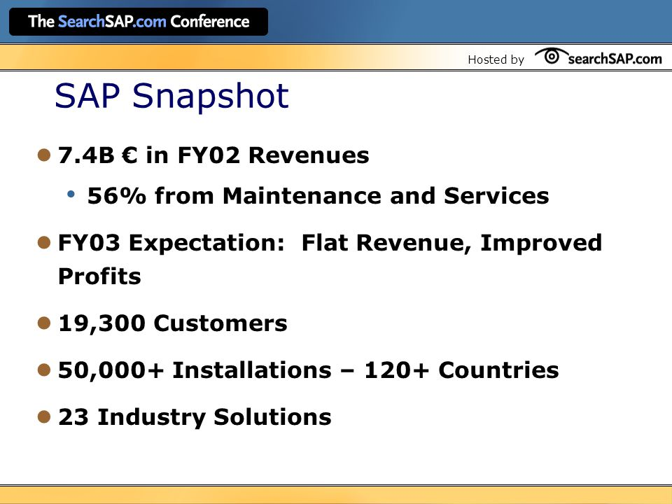 Hosted by SAP Snapshot 7.4B € in FY02 Revenues 56% from Maintenance and Services FY03 Expectation: Flat Revenue, Improved Profits 19,300 Customers 50,000+ Installations – 120+ Countries 23 Industry Solutions