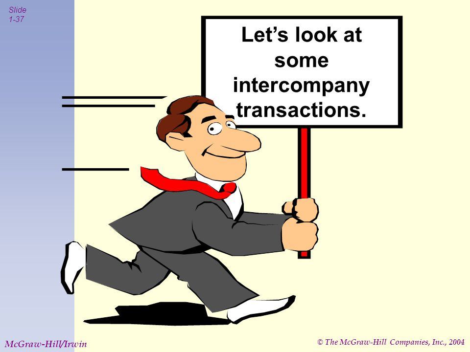 © The McGraw-Hill Companies, Inc., 2004 Slide 1-37 McGraw-Hill/Irwin Let's look at some intercompany transactions.