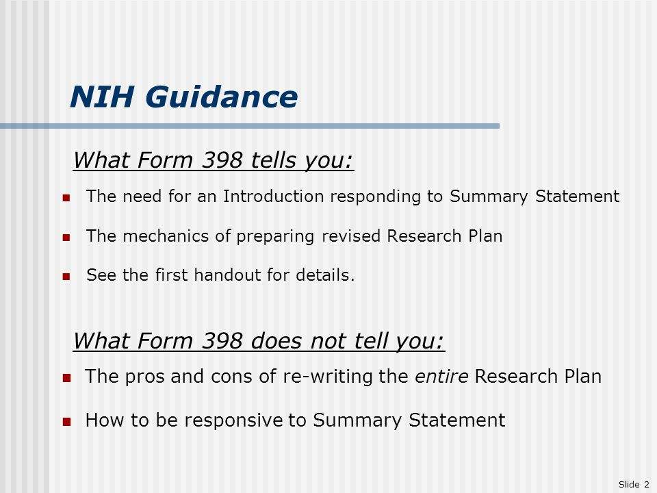 CONTENDING WITH NIH SUMMARY STATEMENTS AND REVISED APPLICATIONS ...