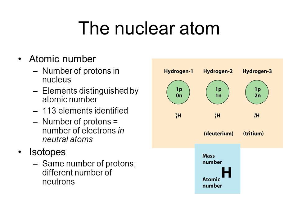 The nuclear atom Atomic number –Number of protons in nucleus –Elements distinguished by atomic number –113 elements identified –Number of protons = number of electrons in neutral atoms Isotopes –Same number of protons; different number of neutrons