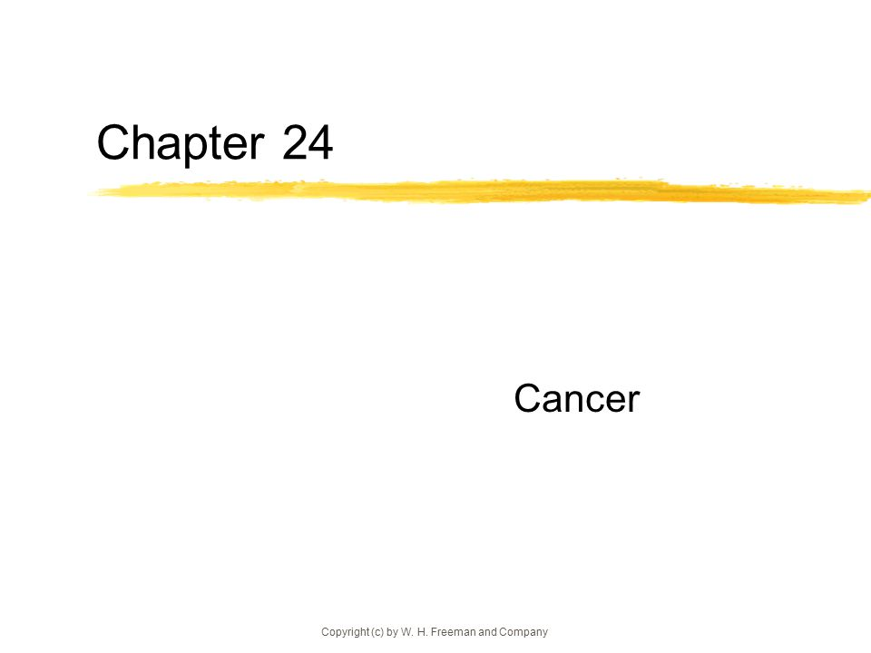 Copyright (c) by W. H. Freeman and Company Chapter 24 Cancer