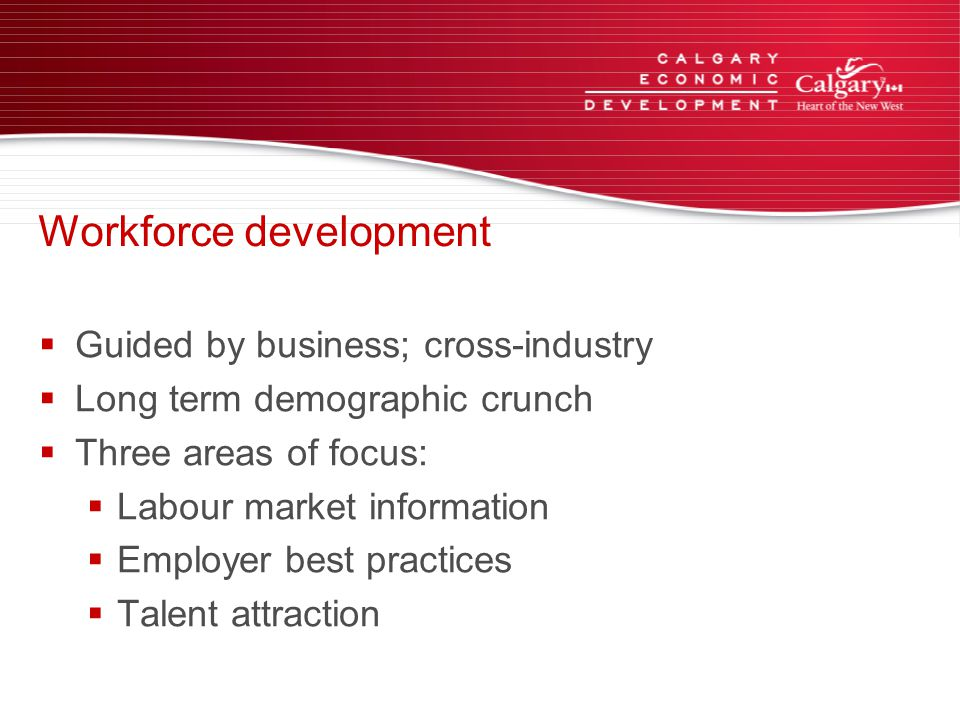 Workforce development  Guided by business; cross-industry  Long term demographic crunch  Three areas of focus:  Labour market information  Employer best practices  Talent attraction