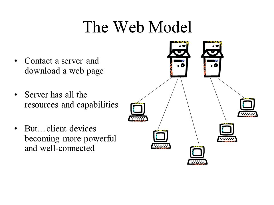 The Web Model Contact a server and download a web page Server has all the resources and capabilities But…client devices becoming more powerful and well-connected