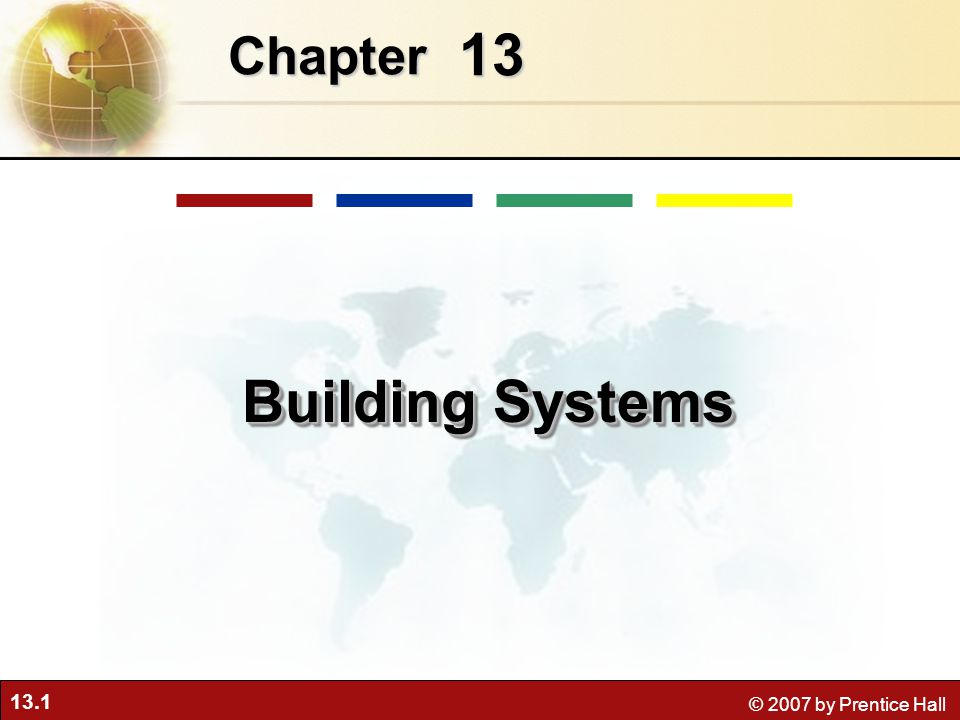 13.1 © 2007 by Prentice Hall 13 Chapter Building Systems