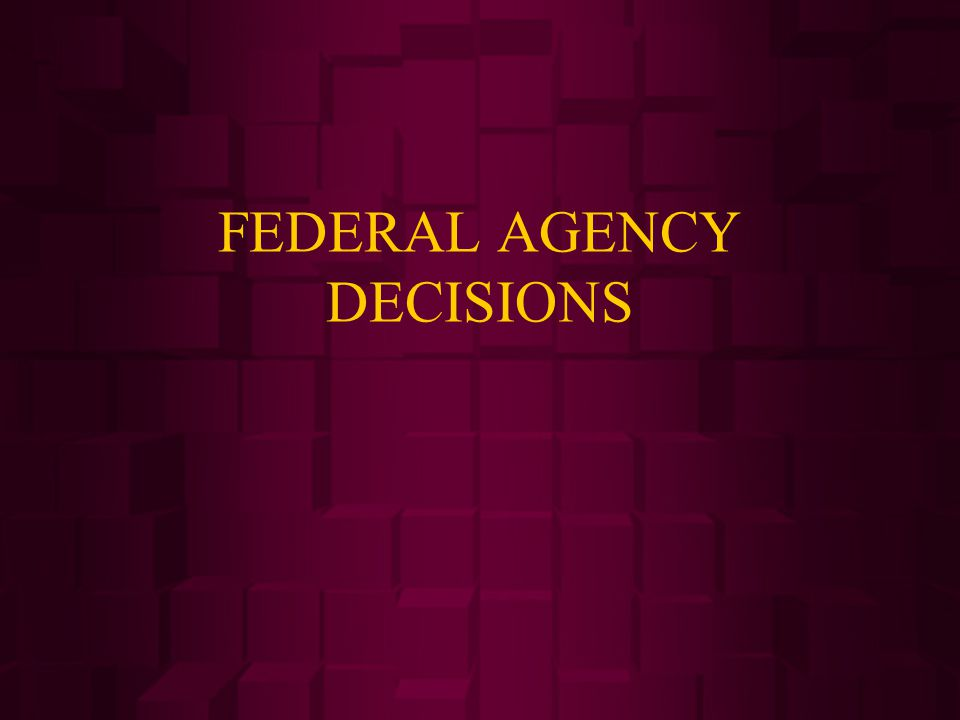 FEDERAL AGENCY DECISIONS