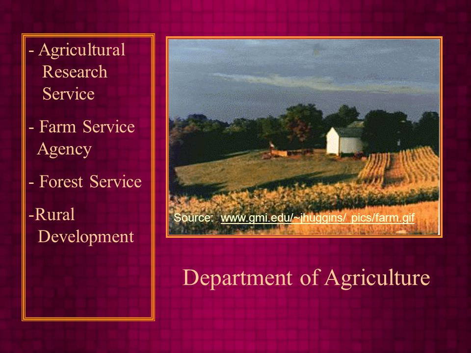 Department of Agriculture - Agricultural Research Service - Farm Service Agency - Forest Service -Rural Development Source:   pics/farm.gifwww.gmi.edu/~jhuggins/ pics/farm.gif