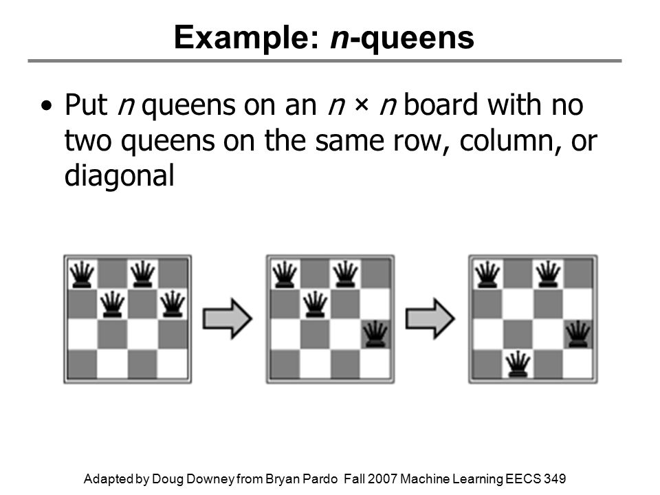 Adapted by Doug Downey from Bryan Pardo Fall 2007 Machine Learning EECS 349 Example: n-queens Put n queens on an n × n board with no two queens on the same row, column, or diagonal