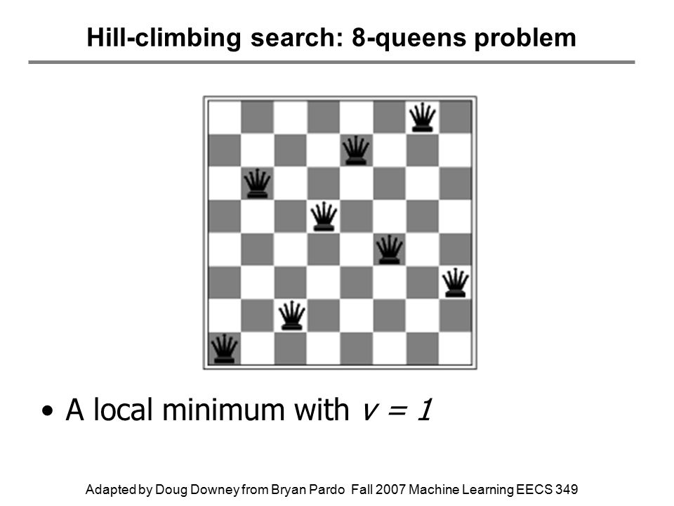 Adapted by Doug Downey from Bryan Pardo Fall 2007 Machine Learning EECS 349 Hill-climbing search: 8-queens problem A local minimum with v = 1
