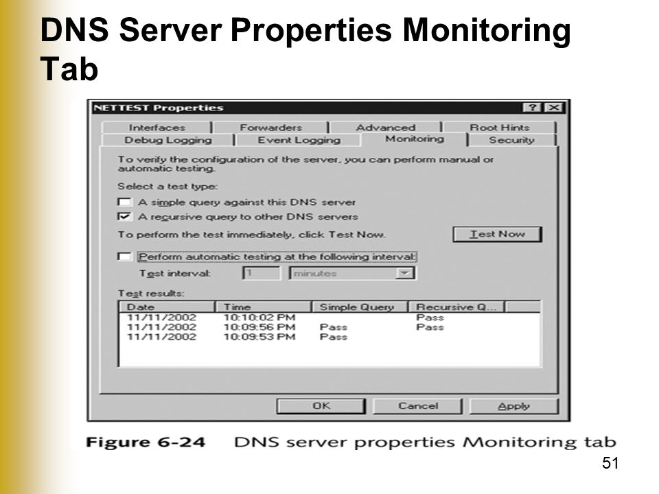 51 DNS Server Properties Monitoring Tab