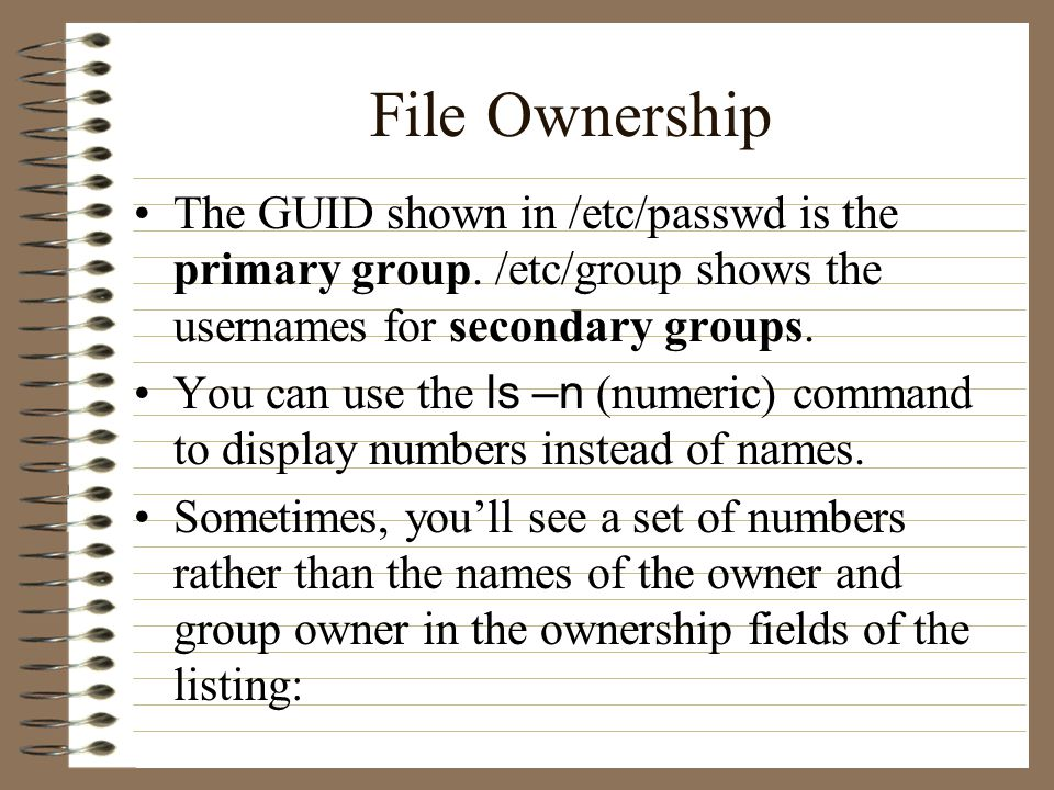 File Ownership The GUID shown in /etc/passwd is the primary group.