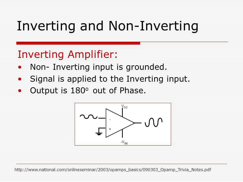 Inverting and Non-Inverting Inverting Amplifier: Non- Inverting input is grounded.