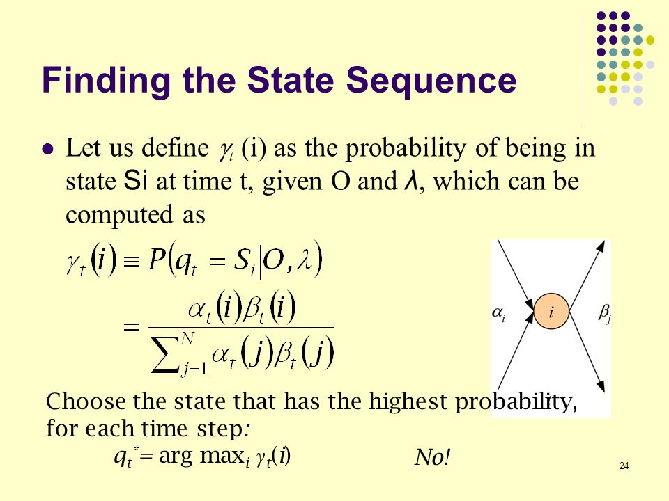 24 Finding the State Sequence Let us define  t (i) as the probability of being in state Si at time t, given O and λ, which can be computed as No.