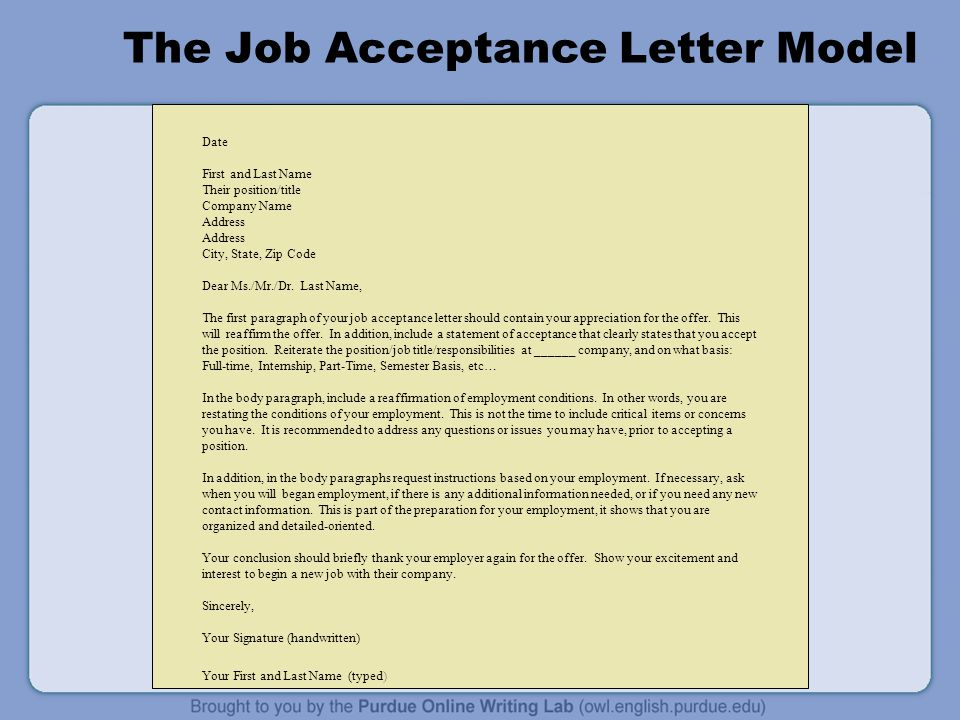 The Job Acceptance Letter Model Date First And Last Name Their Position Title Company