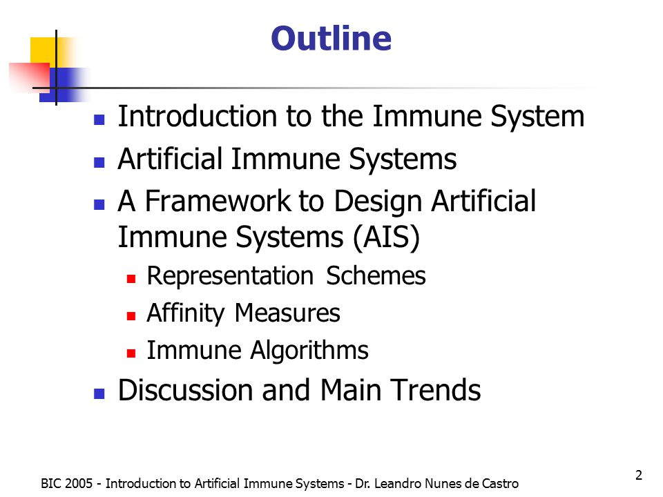 BIC Introduction to Artificial Immune Systems - Dr.