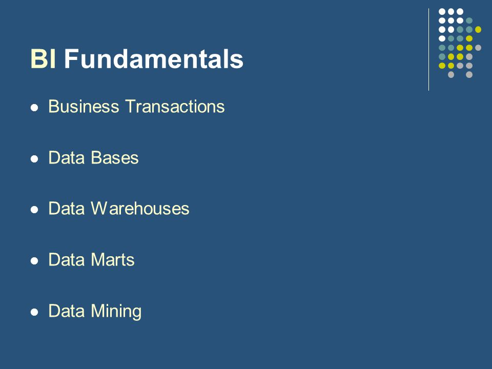 BI Fundamentals Business Transactions Data Bases Data Warehouses Data Marts Data Mining