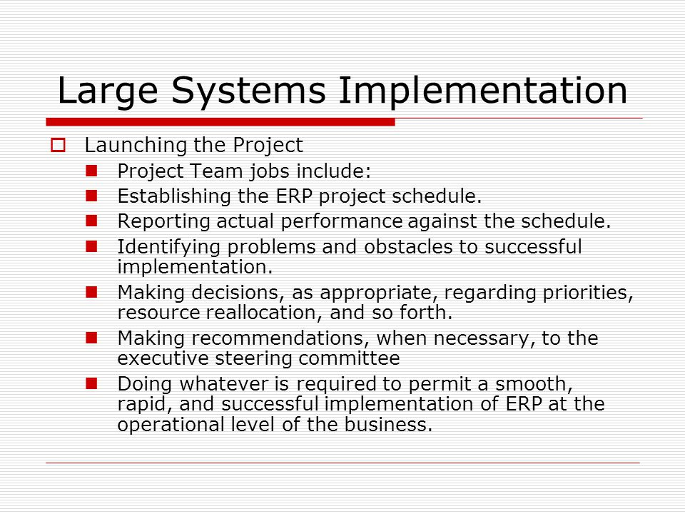 Large Systems Implementation  Launching the Project Project Team jobs include: Establishing the ERP project schedule.