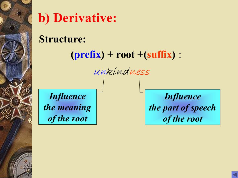 b) Derivative: Structure: (prefix) + root +(suffix) : kindunness Influence the meaning of the root Influence the part of speech of the root
