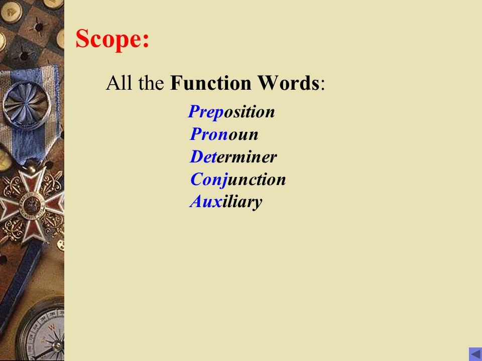 Scope: All the Function Words: Preposition Pronoun Determiner Conjunction Auxiliary