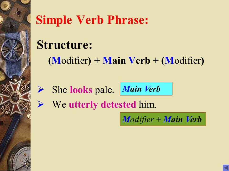 Simple Verb Phrase: Structure: (Modifier) + Main Verb + (Modifier)  She looks pale.