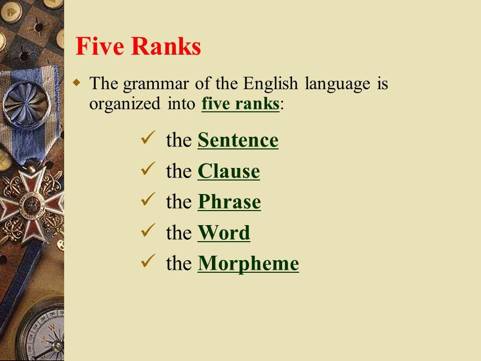 Five Ranks  The grammar of the English language is organized into five ranks:five ranks the SentenceSentence the ClauseClause the PhrasePhrase the WordWord the MorphemeMorpheme