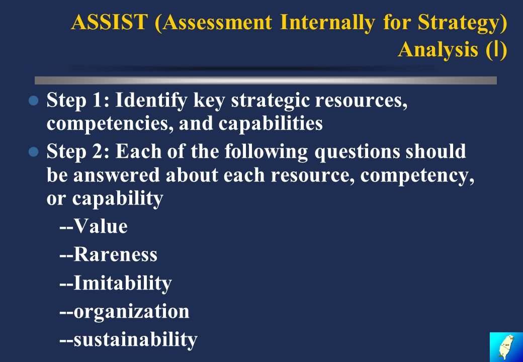 ASSIST (Assessment Internally for Strategy) Analysis ( Ⅰ ) Step 1: Identify key strategic resources, competencies, and capabilities Step 2: Each of the following questions should be answered about each resource, competency, or capability --Value --Rareness --Imitability --organization --sustainability